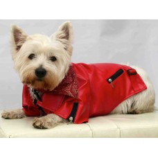 Sid's Stuff Dog's Biker Jacket Faux Leather  - Red