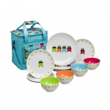 Flamefield Camper Smiles 13 Piece Melamine Dining Set Inc 16 Ltr Cooler Bag